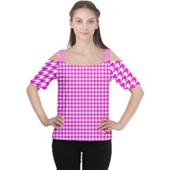 Friendly Houndstooth Pattern,pink Cutout Shoulder Tee