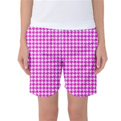 Friendly Houndstooth Pattern,pink Women s Basketball Shorts