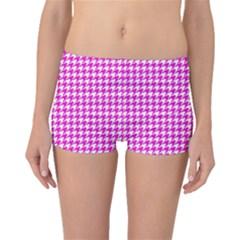 Friendly Houndstooth Pattern,pink Boyleg Bikini Bottoms