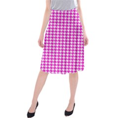 Friendly Houndstooth Pattern,pink Midi Beach Skirt
