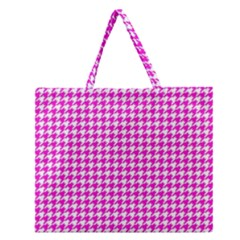 Friendly Houndstooth Pattern,pink Zipper Large Tote Bag