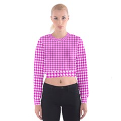 Friendly Houndstooth Pattern,pink Cropped Sweatshirt