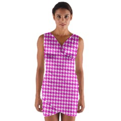 Friendly Houndstooth Pattern,pink Wrap Front Bodycon Dress
