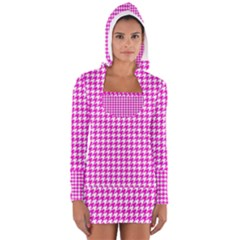 Friendly Houndstooth Pattern,pink Long Sleeve Hooded T Shirt