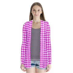 Friendly Houndstooth Pattern,pink Drape Collar Cardigan