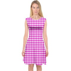 Friendly Houndstooth Pattern,pink Capsleeve Midi Dress