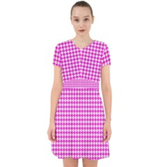 Friendly Houndstooth Pattern,pink Adorable In Chiffon Dress