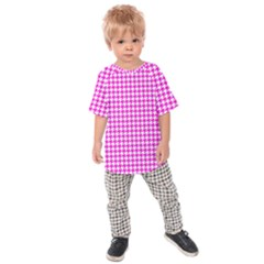 Friendly Houndstooth Pattern,pink Kids Raglan Tee