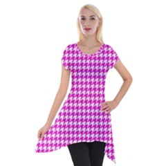 Friendly Houndstooth Pattern,pink Short Sleeve Side Drop Tunic