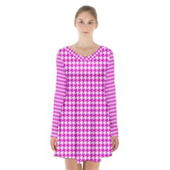 Friendly Houndstooth Pattern,pink Long Sleeve Velvet V Neck Dress