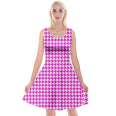 Friendly Houndstooth Pattern,pink Reversible Velvet Sleeveless Dress