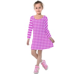 Friendly Houndstooth Pattern,pink Kids  Long Sleeve Velvet Dress