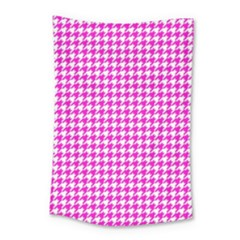Friendly Houndstooth Pattern,pink Small Tapestry