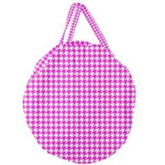 Friendly Houndstooth Pattern,pink Giant Round Zipper Tote