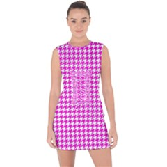 Friendly Houndstooth Pattern,pink Lace Up Front Bodycon Dress