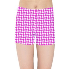 Friendly Houndstooth Pattern,pink Kids Sports Shorts