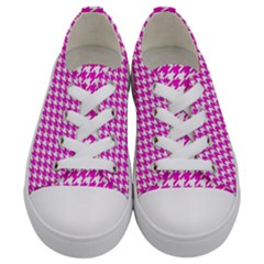 Friendly Houndstooth Pattern,pink Kids  Low Top Canvas Sneakers