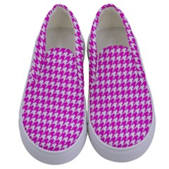 Friendly Houndstooth Pattern,pink Kids  Canvas Slip Ons