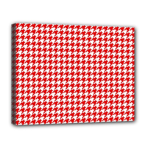 Friendly Houndstooth Pattern,red Canvas 14  X 11