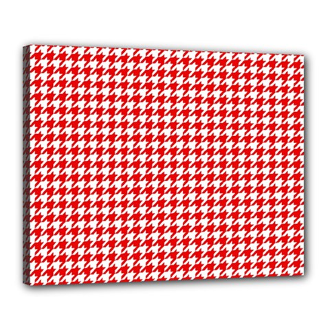 Friendly Houndstooth Pattern,red Canvas 20  X 16