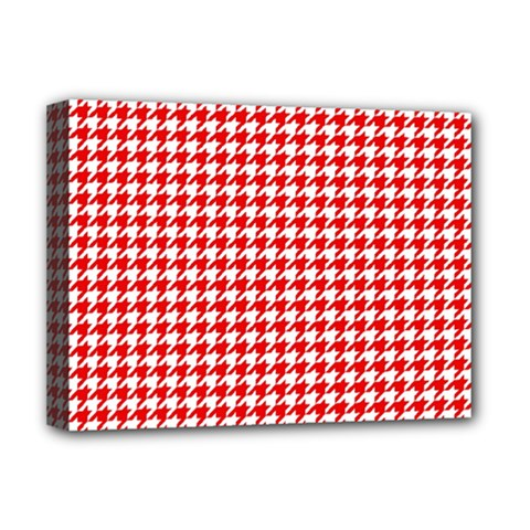 Friendly Houndstooth Pattern,red Deluxe Canvas 16  X 12