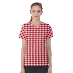 Friendly Houndstooth Pattern,red Women s Cotton Tee