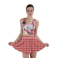 Friendly Houndstooth Pattern,red Mini Skirt
