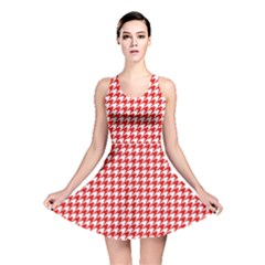 Friendly Houndstooth Pattern,red Reversible Skater Dress