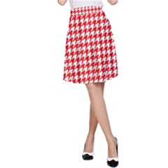 Friendly Houndstooth Pattern,red A Line Skirt