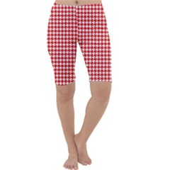 Friendly Houndstooth Pattern,red Cropped Leggings