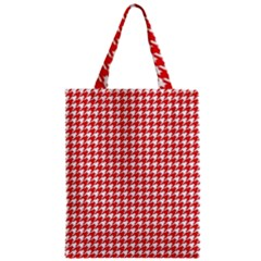 Friendly Houndstooth Pattern,red Zipper Classic Tote Bag