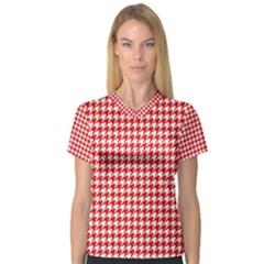 Friendly Houndstooth Pattern,red V Neck Sport Mesh Tee