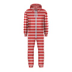 Friendly Houndstooth Pattern,red Hooded Jumpsuit (kids)