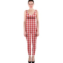 Friendly Houndstooth Pattern,red Onepiece Catsuit