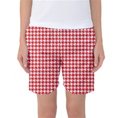 Friendly Houndstooth Pattern,red Women s Basketball Shorts