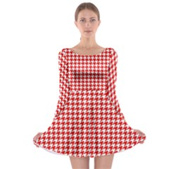 Friendly Houndstooth Pattern,red Long Sleeve Skater Dress