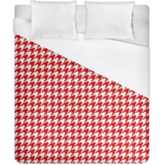 Friendly Houndstooth Pattern,red Duvet Cover (california King Size)
