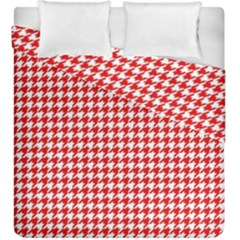 Friendly Houndstooth Pattern,red Duvet Cover Double Side (king Size)
