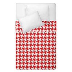 Friendly Houndstooth Pattern,red Duvet Cover Double Side (single Size)