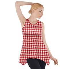 Friendly Houndstooth Pattern,red Side Drop Tank Tunic