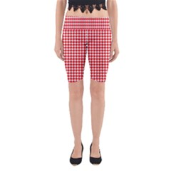 Friendly Houndstooth Pattern,red Yoga Cropped Leggings