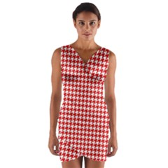 Friendly Houndstooth Pattern,red Wrap Front Bodycon Dress