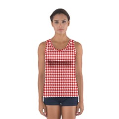 Friendly Houndstooth Pattern,red Sport Tank Top