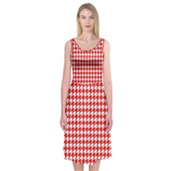 Friendly Houndstooth Pattern,red Midi Sleeveless Dress