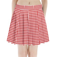 Friendly Houndstooth Pattern,red Pleated Mini Skirt