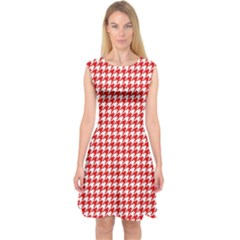 Friendly Houndstooth Pattern,red Capsleeve Midi Dress