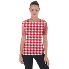 Friendly Houndstooth Pattern,red Short Sleeve Top