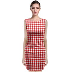 Friendly Houndstooth Pattern,red Sleeveless Velvet Midi Dress