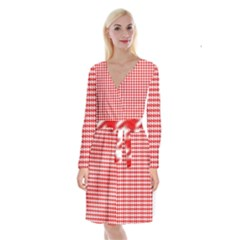 Friendly Houndstooth Pattern,red Long Sleeve Velvet Front Wrap Dress