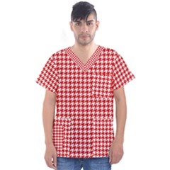 Friendly Houndstooth Pattern,red Men s V Neck Scrub Top
